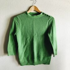 Talbots Women's Sweater 3/4 Sleeves Side Buttons Green casual summer fall Size M