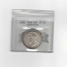 **1938**,Coin Mart Graded Canadian Silver 50 Cent, **EF-45 Scratches**