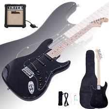 Glarry ST Black Electric Guitar w/ AMP + Gig Bag Case Guitar Strap for Beginner