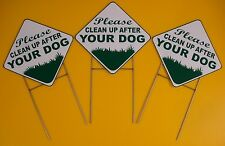 3 Please Clean Up After Your Dog 10X10 Plastic Coroplast Signs w/Stakes Diamond