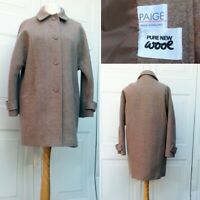 Paige Pure New Wool Car Coat Beige/Light Brown Button-Down Warm Winter Jacket 16