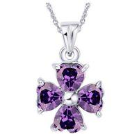 Women Amethyst Heart Cut Pendant 925 Sterling Silver Four Leaf Clover Necklace