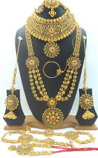 TRADITIONAL RED LCT CZ GOLD TONE NECKLACE BRIDAL DULHAN ETHNIC JEWELRY SET 9 PCS
