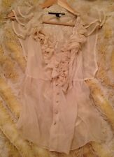 New Designer 100% Silk Ruffle lace Ivory Blouse High-end Robert Rodriguez $589