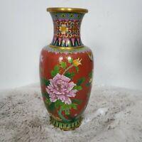 Fine Vintage  Chinese Jingfa Cloisonne Enamel Chrysanthemum & Butterfly Vase