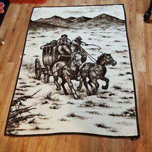 """Vintage Ibena Relax Dolan Reversible Stagecoach Horses Throw Blanket 72"""" x 55"""""""