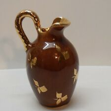 Creamer Small Pitcher Gold Shamrock Clover Designs Brown and Gold Vintage