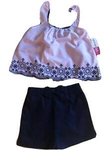Penelope Mack Little Girls Pink Top & Black Shorts Set Size 6X New
