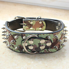 Spiked Studded Leather Large Breed Pet Dog Collars Size S M L XL Pitbull Mastiff