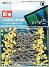 Prym 20g Glaskopfstecknadeln silberfarbig gelb 43 x 0,60 mm bügelfest  029153