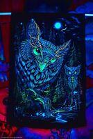 Fluorescent Glow Psytrip Psyart Backdrop Banner Trippy Visionary Tapestry Owl