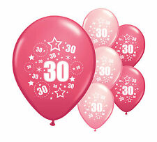 "10 X 30th Birthday Pink Mix 12"" Helium or Airfill Balloons (pa)"