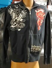 Ed Hardy New York City Men's Full Zip Collared Sweat Shirt Size L in Good Cond.