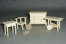 4x Möbel Kommode Servierwagen Stuhl & Tisch für Puppenstube