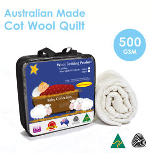 Aus Made Baby Cot Pure Wool Quilt Duvet Doona 500GSM-100%Natural Fibre-Baby Gift