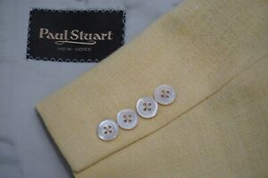 Paul Stuart SB Stuart Yellow Woven Linen Blend Sport Coat Jacket Sz 41 Semi Long