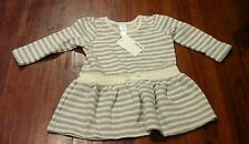 Target baby cream/grey silver striped long sleeve dress sz0 BNWT free post C62