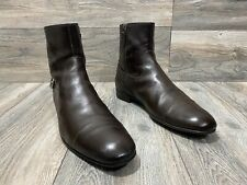 Gucci Ankle Boots Cap Toe   Inside Zipper   Back Belt   Brown Leather   Size 10