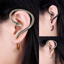 ONE ONLY Long Snake Ear Wrap Stud - Earrings Retro Cuff Jewellery Silver Gold