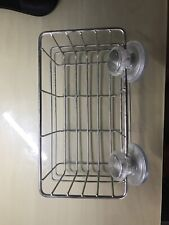 Stainless Steel Wire Shelf With Suction Cups Bathroom Toilet Wall Storage Caddy
