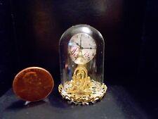 New! Elegant Ornate Gold Glass Dome Mantle Dollhouse Miniatures Clock Reg.$49.99