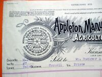 01-18-1908 APPLETON MANUFACTURING CO Implements KC MO Windmills etc Bill Head
