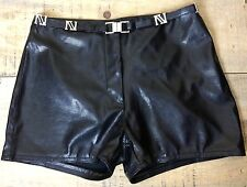 MAX-X Black Wet Look Booty Hot Pants Shorts  Sexy Faux Lizard Skin Texture S