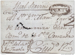 "J) 1800 MEXICO, COLONIAL, CHIAPAS, ""TUXTLA"" OVAL WITH ""2"" RATE SENT ""REAL SERVIC"