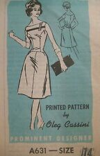 Vtg 60's OLEG CASSINI Prominent Designer EVENING DRESS Sewing Pattern Women Sz14