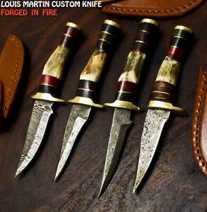 Louis Martin Handmade Damascus Steel Stag Antler Hunting Skinner Knife Lot of 4