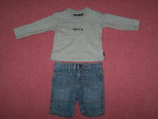 Mexx Baby boy set (l/s t-shirt + denim shorts) 9-12 months