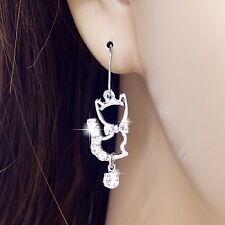 #E115A Pair PIERCED EARRINGS Cute Little Kitten Cat Crystal Animal Great Gift