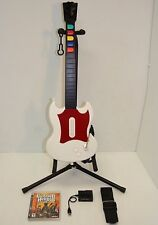 PS3!!! Guitar Hero RedOctane *WHITE* Wired Guitar, USB Adapter, New Strap, Game
