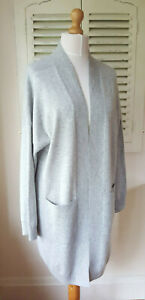 BNWT Jaeger Grey 100% Cashmere Long Slouchy Cardigan/House Coat (Size Large)