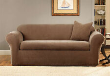 Sure Fit Pique 2pc Sofa Slipcover Box Seat Cushion in Brown
