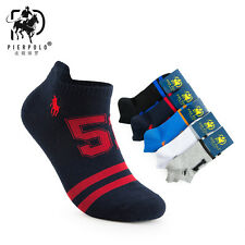 5 Pairs Mens Sport Pier Polo Ventilate Cotton No Show Loafer Liner Ankle Socks