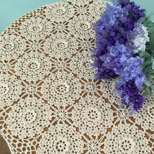 Vintage Hand Crochet Lace Table Cloth Doily Square Tablecloth 23inch Floral