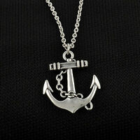 Vintage Silver Plated Retro Anchor Alloy Chain Pendant Necklace Charm Jewelry