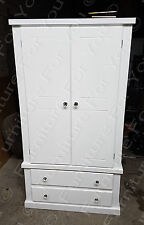 SPECIAL OFFER BERKELEY WHITE 2 DOOR WARDROBE WITH CRYSTAL KNOBS READY ASSEMBLED