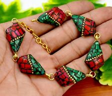 Nepal Fashion Banjara Coral Brass Tibetan Designer Jewelry Bracelet BTB608