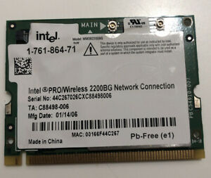 Intel PRO/Wireless 2200BG Laptop Wireless Network Card 1-761-864-71 Sony Vaio