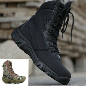 Mens Tactical Military combat Boots swat Python camouflage Outdoor hiking shoes