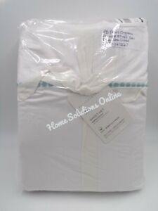 Pottery Barn Pearl Organic Percale Embroidered King Sheet Set Sea Glass Blue 509