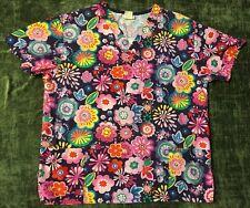 Beautiful V-Life Women's Scrub Top, Bright Floral Print, Cotton Blend, Size M