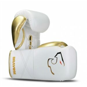 Bravose Elite Pro White lace up. Premium Quality Real Leather Boxing Gloves