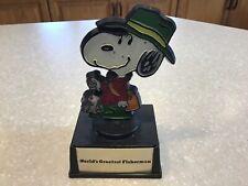 Vintage 1971 Aviva Snoopy  World's Greatest Fisherman Trophy 5 inch Tall