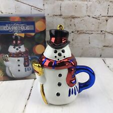 Christmas Snowman Red Scarf Top Hat Figural Coffee Tea Cup Mug Boston Warehouse