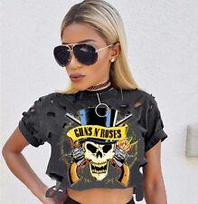 UK Womens Short Sleeve Tee Blouse Hollow Crop Summer Tops Skull Casual T-Shirt
