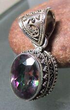 Sterling silver 12gr cut gemstone mystic topaz deep set vintage style pendant.