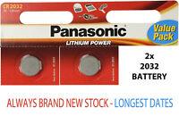 2 x Panasonic CR2032 3V Lithium Coin Cell Battery 2032 Batteries Brand new